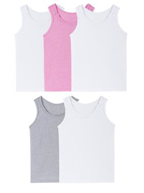Fruit of the Loom Assorted Layering Tank Undershirts, 5 Pack (Toddler Girl)