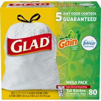 Glad OdorShield Tall Kitchen Drawstring Trash Bags - Gain Original with Febreze Freshness - 13 Gallon - 80 ct