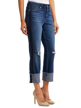 Veronica Distressed Side Stripe Cuffed Straight Leg High Waist Jean Women's (Dark Indigo Wash)