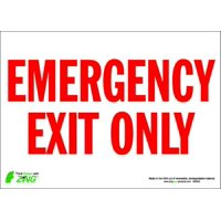 ZING Exit Sign,10 x 14In,R/WHT,EMER Exit Only, 2084S