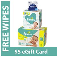 Free $5 Gift Card + Pampers Sensitive Wipes with Purchase of Pampers Swaddlers Diapers