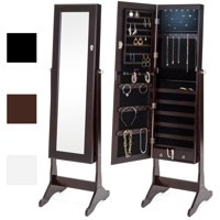 Best Choice Products 6-Tier Full Length Standing Mirrored Lockable Jewelry Storage Organizer Cabinet Armoire w/ 6 LED Interior Lights, 3  Angle Adjustments, Velvet Lining - Espresso