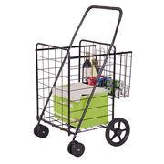 Costway Folding Shopping Cart Jumbo Basket with Swivel Wheels