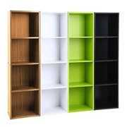 4 Layers Bookcase Storage Shelf Rack - Flat Book Storage Display Decorative Box Stand - Cube Unit Organizer - Easy Assembly - Home Living/ Dining Room/ Bedroom/ Office Bookcase