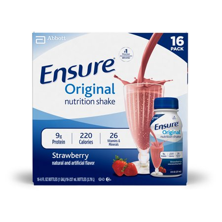 Wellness Beverage - Ensure Original Nutrition Shake with 9 grams of protein, Meal Replacement Shakes, Strawberry, 8 fl oz, 16 Count