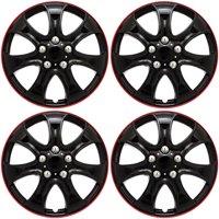 "Cover Trend (Set of 4), Universal 15"" Shiny Black W/ Red Trim Hub Caps Wheel Covers"