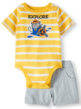 Baby Boys' Stripe Bodysuit and Canvas Shorts, 2-Piece Outfit Set