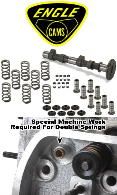 Engle W100 Stage 2 Cam Kit With Lifters, Single Valve Springs, Retainers, Locks, Crank - Cam Lifters Valve Train
