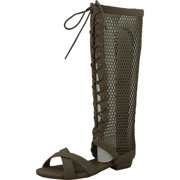 817bb4e5cdcf Forever Womens CAREN14 Open Toe Low Heel Knee High Flat Gladiator Sandal