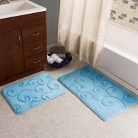 Somerset Home Memory Foam Bath Mat Set, 2-Piece, Coral Fleece Embossed Pattern