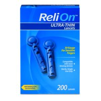 (2 Pack) ReliOn 30 Gauge Ultra-Thin Lancets, 200 Ct