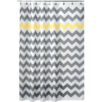"InterDesign Chevron Fabric Shower Curtain, Standard 72"" x 72"", Gray/Yellow"