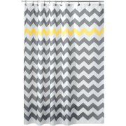InterDesign Chevron Fabric Shower Curtain Standard 72 X Gray Yellow