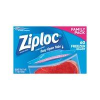 Ziploc Double Zipper Freezer Bags, Quart, 60 Ct