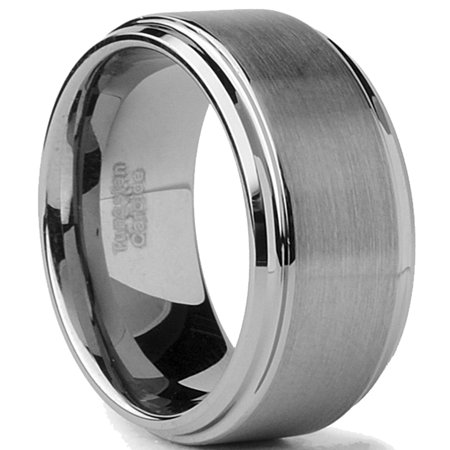 Tungsten Carbide Men's Brushed Finish / High Polish Beveled Edge Ring Wedding Band, Comfort Fit, 8MM Sizes 5 to 15 Brushed Finish Beveled Edges