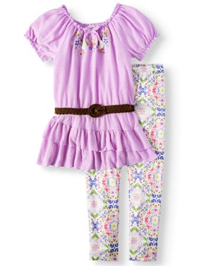 Girls' Embroidered Belted Tunic and Legging, 2-Piece Outfit Set