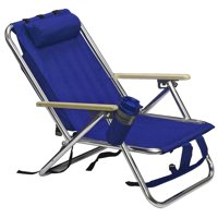 Best Choice Products Portable Folding Seat Backpack Chair for Beach, Camping, Tailgate w/ Removable Padded Headrest, Cup Holder - Blue