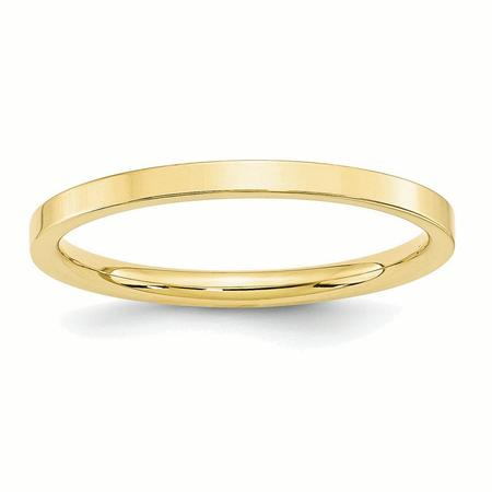 10k Yellow Gold 2mm Standard Flat Comfort Fit Band Ring