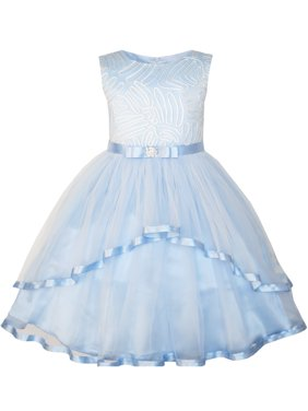 Flower Girls Dress Blue Belted Wedding Party Bridesmaid 4