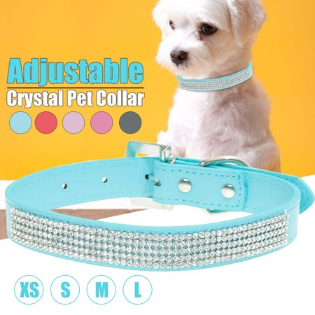Adjustable puppy accessories Dog Collar, Rhinestones Diamante Crystal Band Pu Leather Bling Puppy Dog Cat Pet Collar Tag, XS/S/M/L Size
