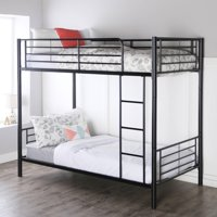 Ktaxon Twin-Over-Twin Bunk Bed with Metal Frame and Ladder, Space-Saving Design,