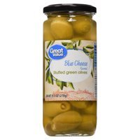 (6 Pack) Great Value Blue Cheese Stuffed Green Olives, 9.5 oz