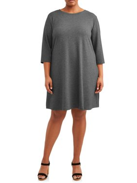Women's Plus Size Long Sleeve Knit Dress with Tie Back