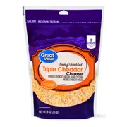 Great Value Finely Shredded Triple Cheddar Cheese, 8 oz