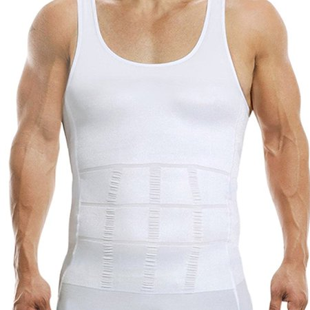 Men\'s Body Shaper Vest Shirt Abs Abdomen Slim Compression Slimming Undershirt -White(XL) (Abs Skirt)