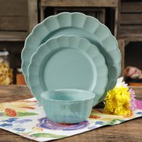 The Pioneer Woman Luster Teal 12-Piece Dinnerware Set