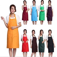 Girl12Queen Unisex Simple Pure Color Kitchen Restaurant Bib Cooking Apron with Pocket
