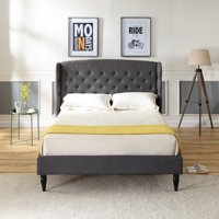 Modern Sleep Brighton Upholstered Platform Bed   Headboard and Wood Frame with Wood Slat Support   Grey, Multiple Sizes