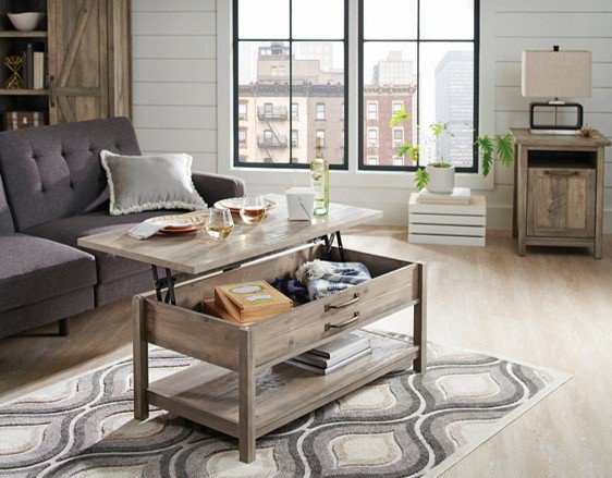 Better Homes & Gardens Modern Farmhouse Lift-Top Coffee Table, Rustic Gray Finish ()