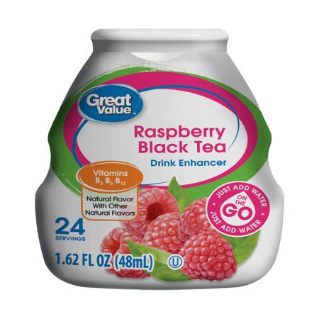 (10 Pack) Great Value Drink Enhancer, Raspberry Black Tea, 1.62 fl - Drink Raspberry