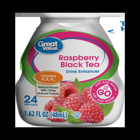 (10 Pack) Great Value Drink Enhancer, Raspberry Black Tea, 1.62 fl oz