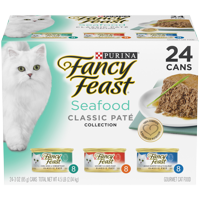 Fancy Feast Grain Free Pate Wet Cat Food Variety Pack; Seafood Classic Pate Collection - (24) 3 oz. Cans