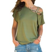 c79864af39c937 Women s Pure Color Sexy Short Sleeve Shirts Off Shoulder Casual Plus Size Blouses  Tops