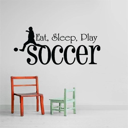 Custom Wall Decal Vinyl Sticker : Eat, sleep, Play Soccer Quote Home Living Room Bedroom Decor - 12x26 Inches - Soccer Room Decor