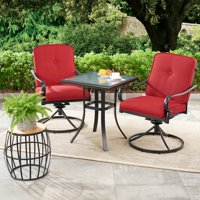 Mainstays Carson Creek 3-Piece Patio Bistro Set with Brick Red Cushions