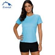 b784cdb0 FeelGlad Women's Plus Size Short Sleeve Swim Shirt Swim Tee Rashguard Top  Swimwear, Aqua Blue