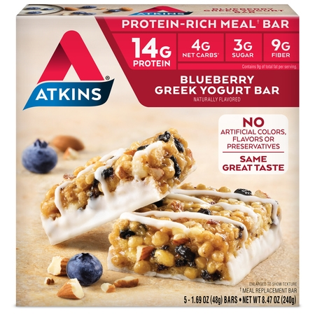 Atkins Blueberry Greek Yogurt Bar, 1.69oz, 5-pack (Meal Bar) 100 Bar Meal Replacement Food