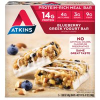 Atkins Blueberry Greek Yogurt Bar, 1.7oz, 5-pack (Meal Replacement)