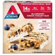 Atkins Blueberry Greek Yogurt Bar, 1.7oz, 5-pack (Meal Replacement)