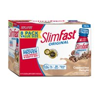 (2 pack) SlimFast Original Ready to Drink Meal Replacement Shakes, Cappuccino Delight, 11 fl. oz., 8 Ct