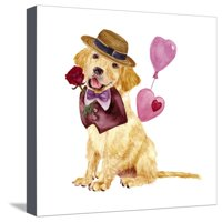 Valentine Puppy V Stretched Canvas Print Wall Art By Melissa Wang
