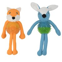 Vibrant Life Plush Animal with Spikey Ball Dog Toy, Chew Level 2, Assorted Character May Vary