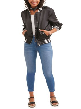 Juniors' High-Rise Triple Stacked Waist Skinny Jeans