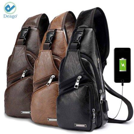 "Deago PU Leather Sling Bag for Men & Women - Chest Shoulder Bag Unbalance Crossbody Backpack Water Resistant Daypack for Gym Travel Hiking (13.8"" * 6.7"" * 2.5"", Dark Brown)"