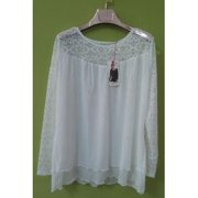 Women Round Lace Floral Neck Shirt and Blouse White