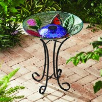 Better Homes & Gardens Outdoor 18 in. Solar Butterfly Hydrangea Bird Bath